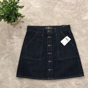 Mini Button Down Denim Skirt. Womans